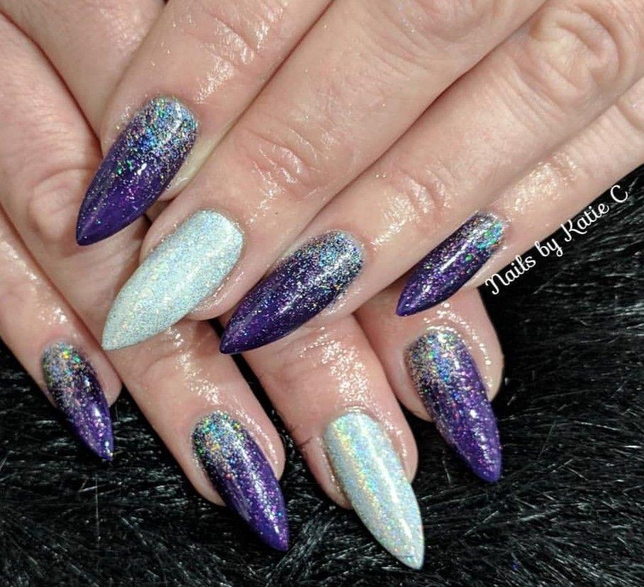 Sharp colorful holographic chrome glitter stiletto nails #