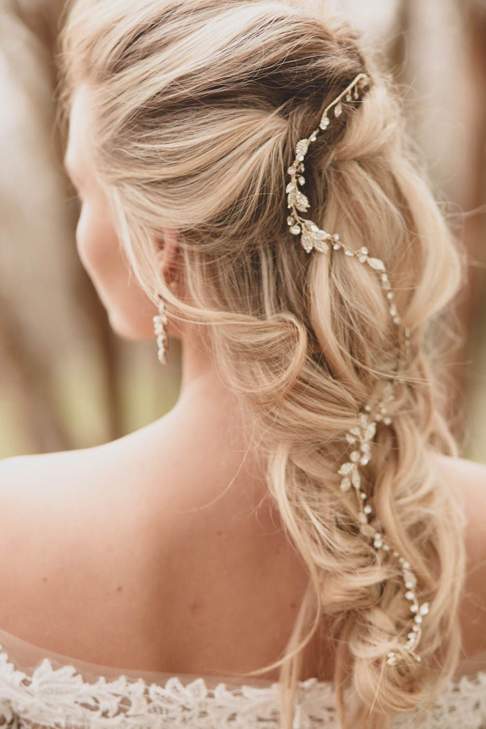 Love This Bridal Hair Idea And That Hair Vine Is Beautiful In 2020 Bridal Hair Accessories Bridal Hair And Makeup Wedding Hairstyles For Long Hair