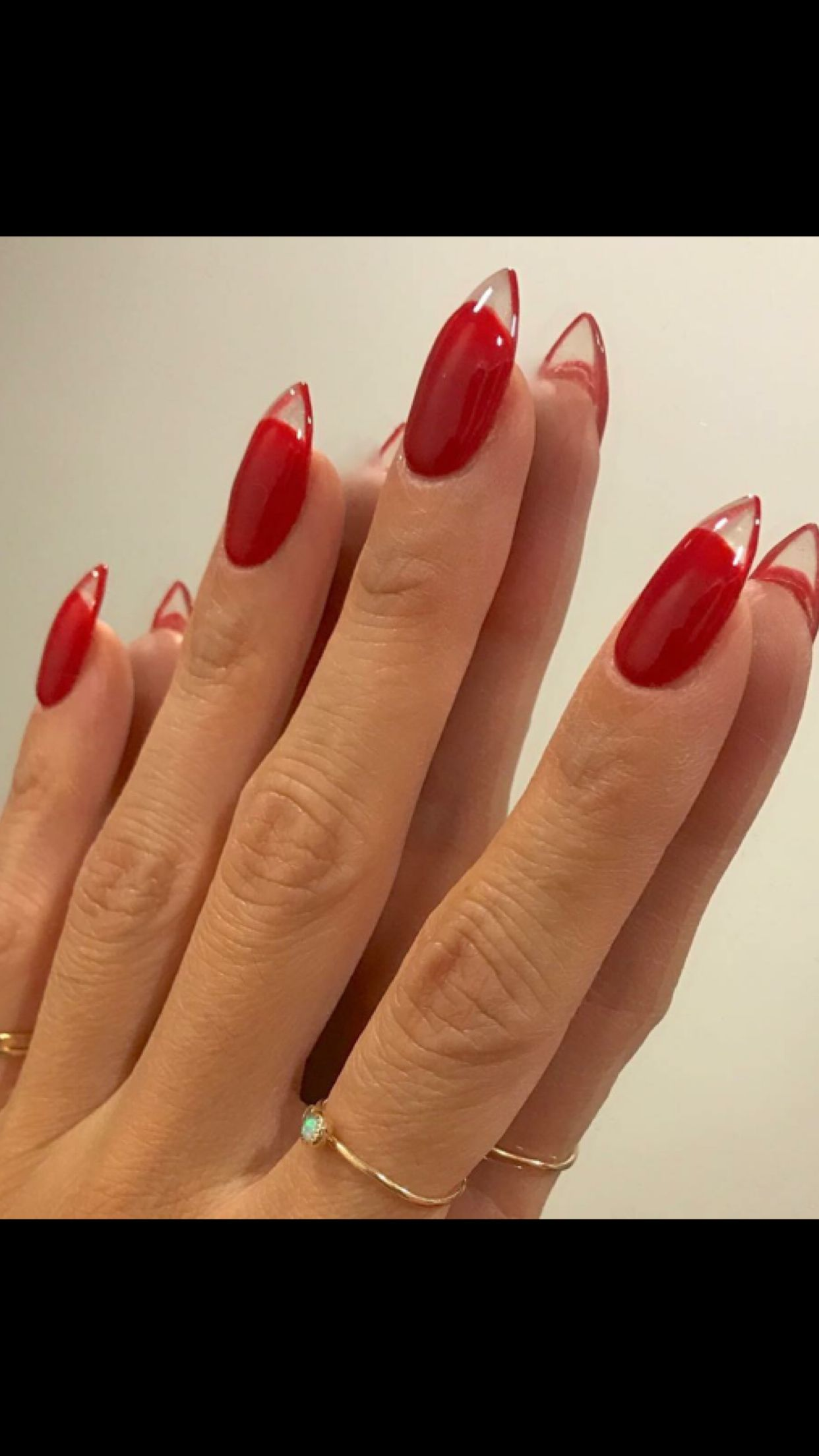 Red Gel Nails With Clear Tip Red Gel Nails Clear Nail Tips Red Acrylic Nails