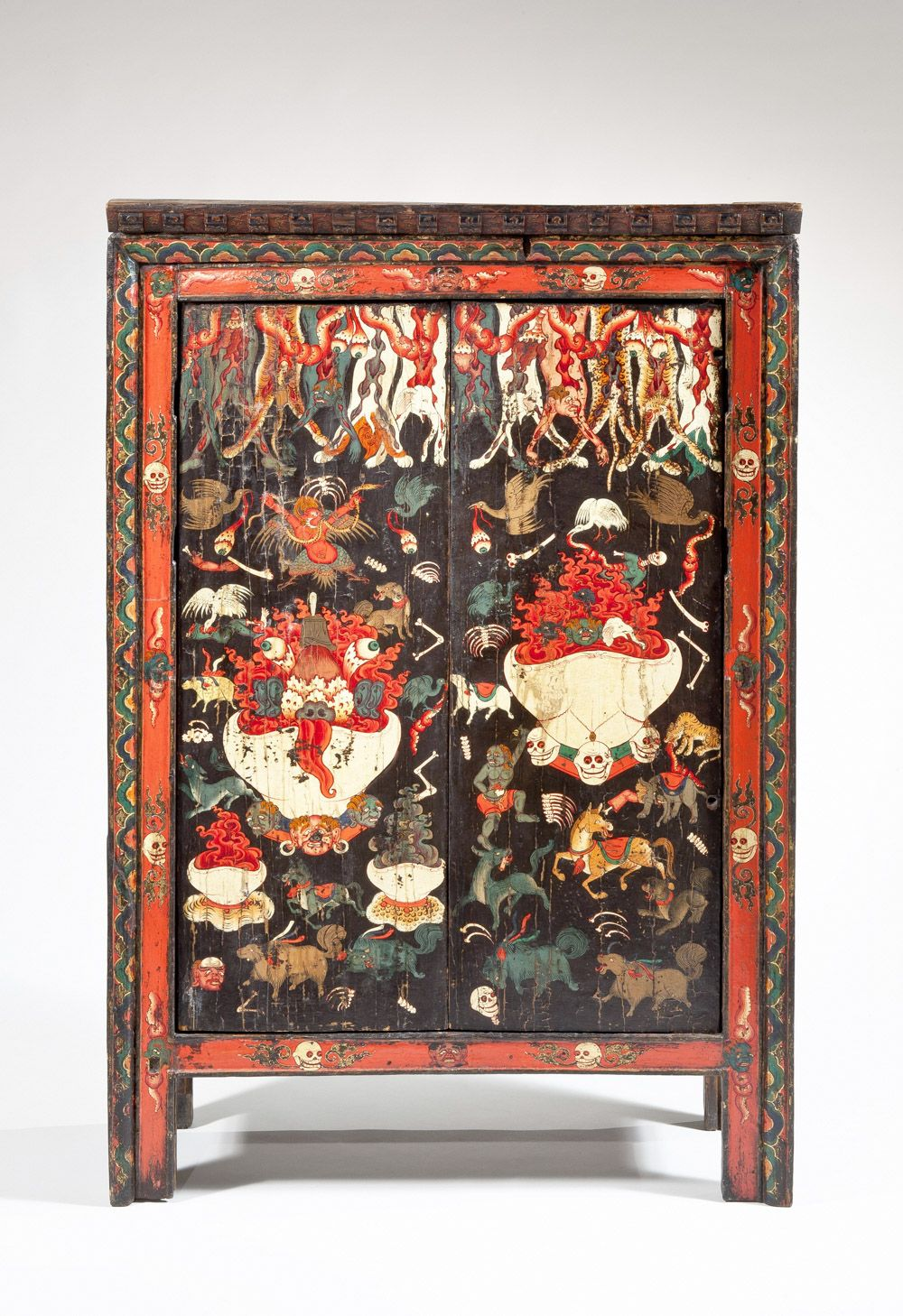 Torgam Ritual Cabinet with Offerings for Wrathful Deities. Tibet 18th-19th century. Wood, pigment. Credit: Collection of the Newark Museum 2013.25.