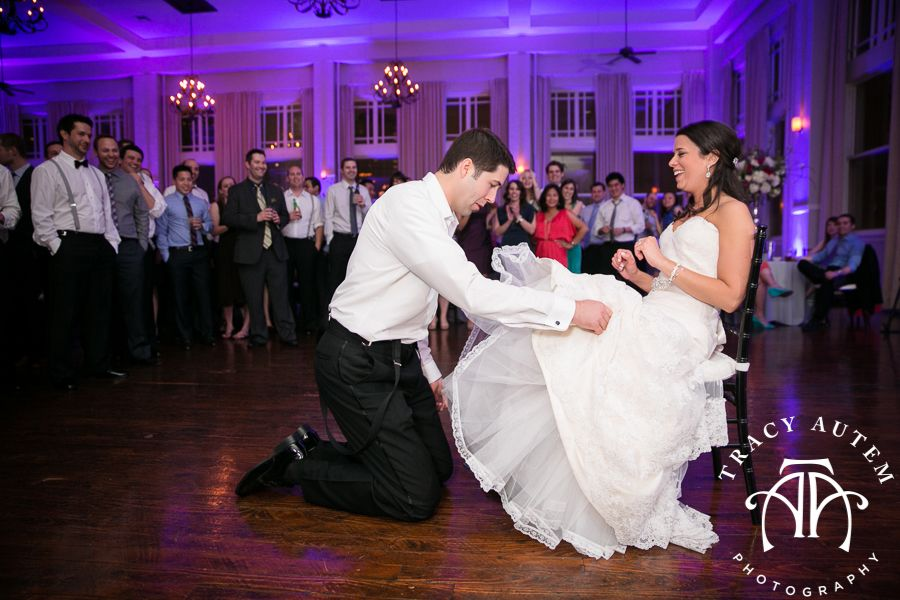Getting Ready For The Garter Toss During A Wedding Reception At Room On Main Street
