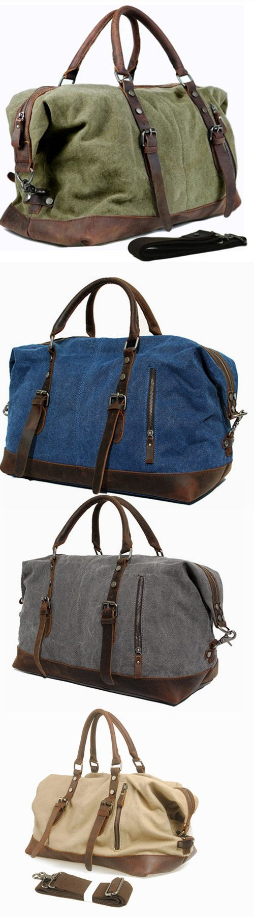 Vintage military Canvas Leather men travel bags Carry on Luggage bags Men  Duffel bags travel tote c5e5df5e54ca7