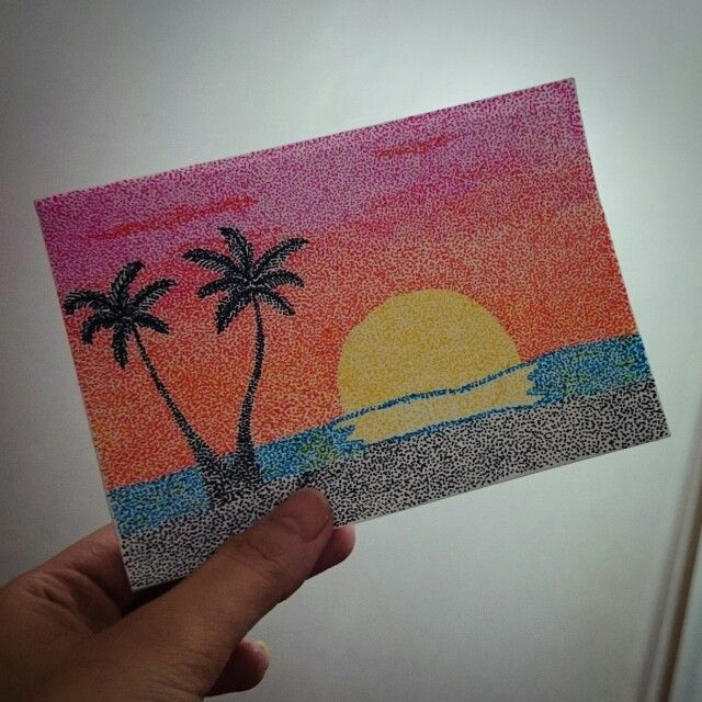 Sunset Drawn Using Pointillism And Colored Pens Pointalism Art