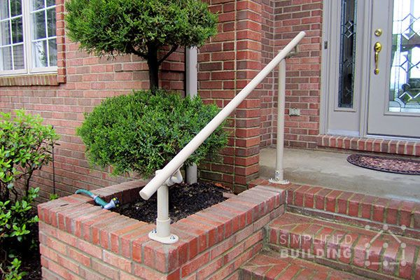 Industrial Handrail For Stairs Indoor Outdoor Steps Staircases | Disabled Handrails For Outside Steps | Elderly | Full Width | 2 Step | Outdoor | Industrial Pipe