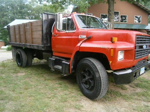 1991 Ford F700 Diesel Dump Truck Flat Bed With Wood Sides Grain