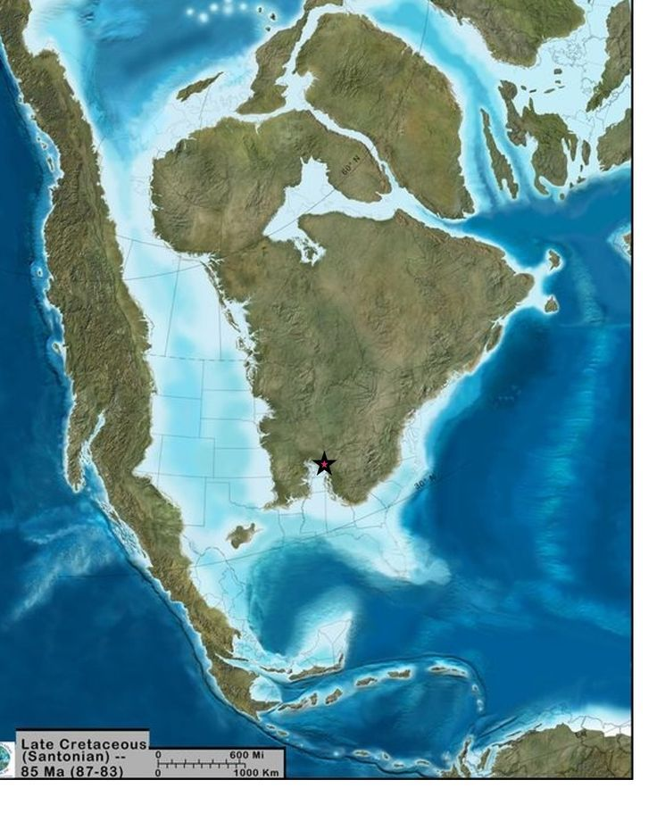 Map of North America during the Late Cretaceaous, 85