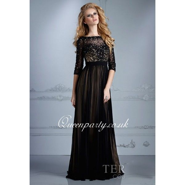 Black Long Sleeve Beaded Prom Dress With V Back | Prom dresses ...