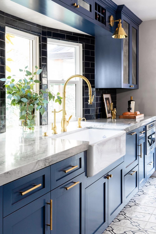 grey blue kitchen cabinets grey floor   Google Search   Kitchen ...