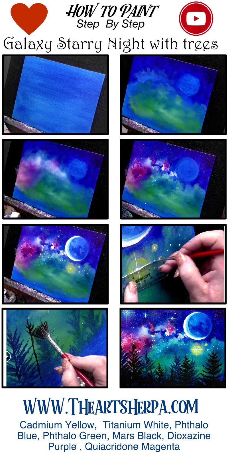 Photo of How To Paint A Starry Night Galaxy Over Trees STEP By STEP | The Art Sherpa