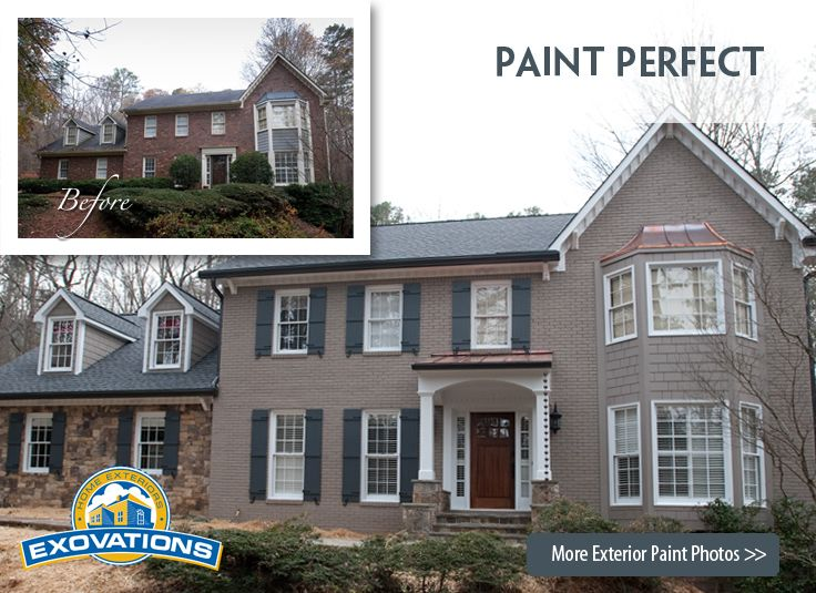 Painted Brick Homes Before And After | House Painting Atlanta, Home ...