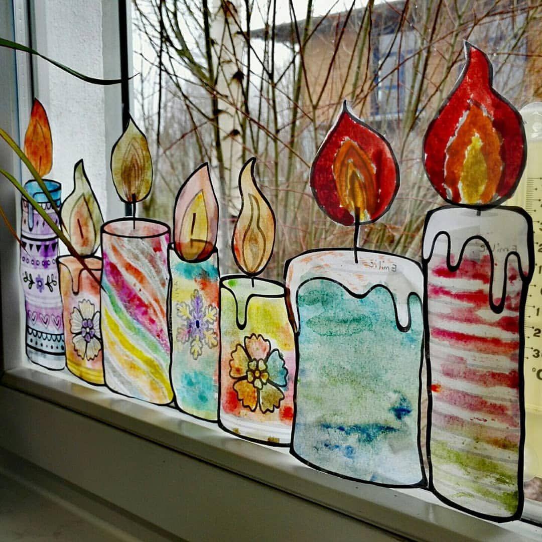 """Lehrerlaunen on Instagram: """"Die Kerzen am Fenster � Den Öltrick und Wachstrick fanden alle cool. Danke @binebraendle #kunstunterricht #grundschule…"""""""