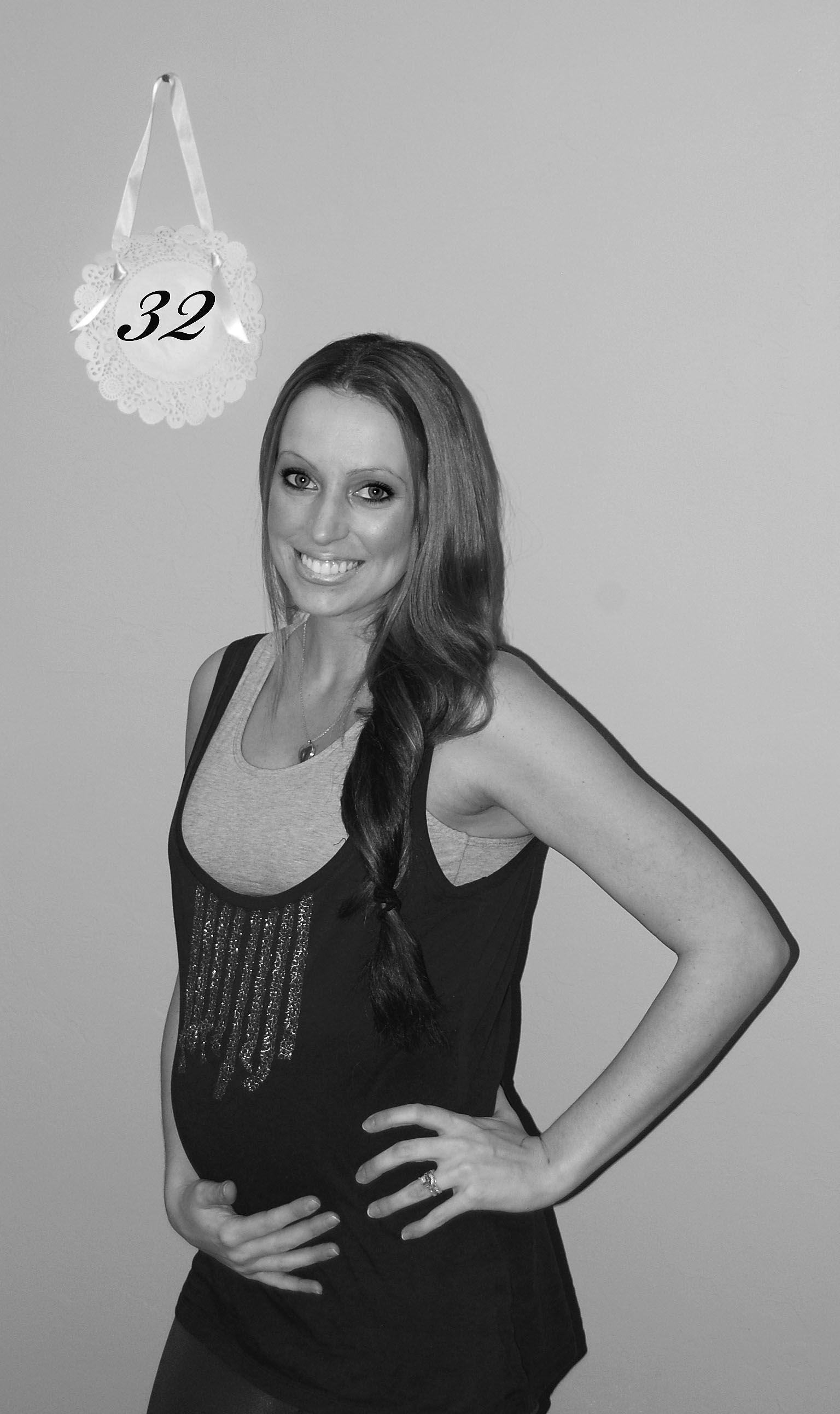 Week 32 8 months Pregnancy belly Still a flat ish belly button