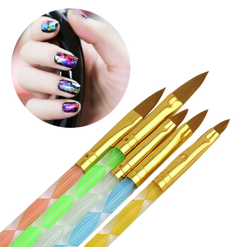5Pcs/set Nail Art Brush Tools Set Acrylic UV Gel Builder Painting ...