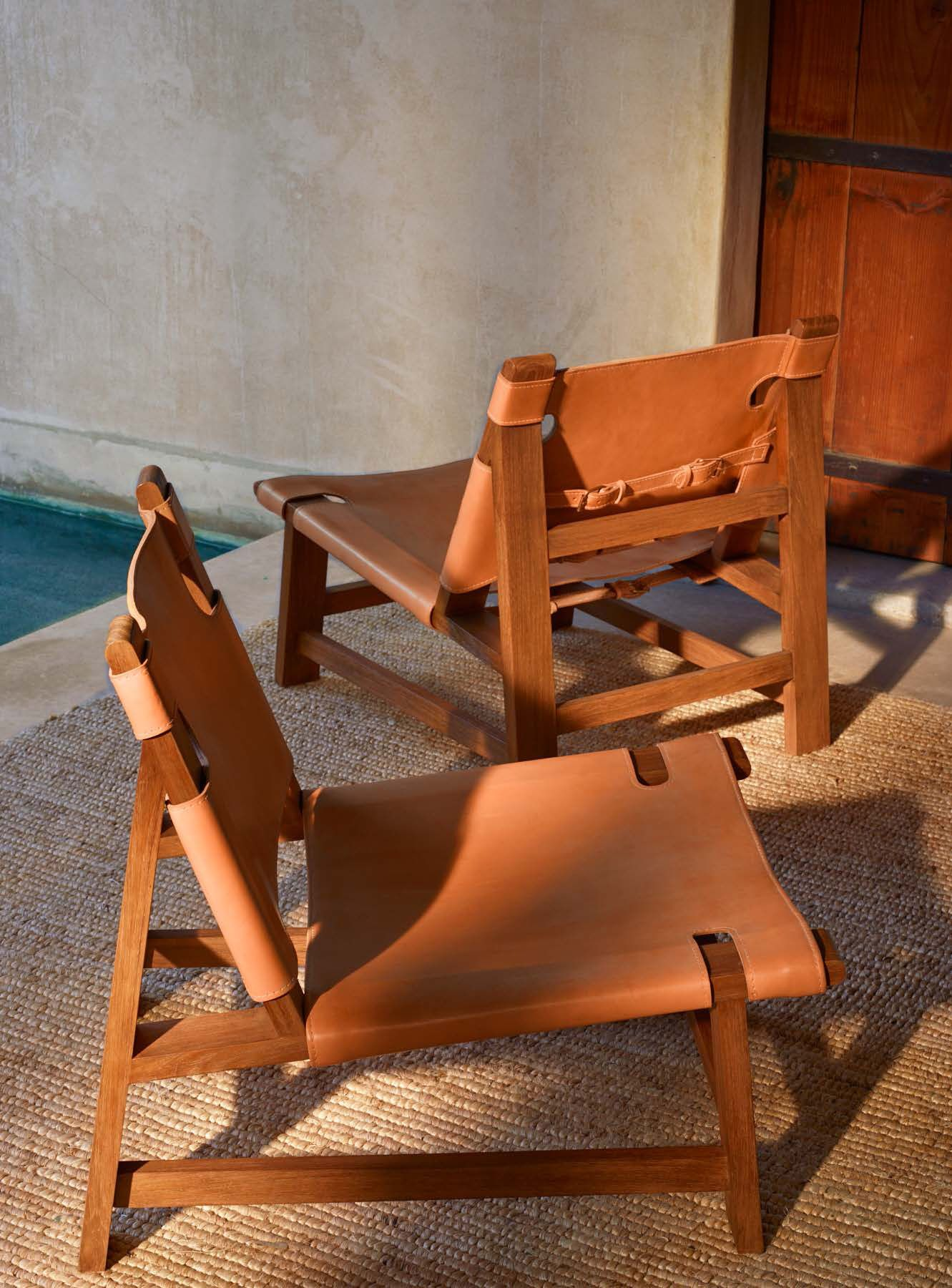 Sonora Canyon Sling Chair In Sunbleached Leather With Buckle Detailing