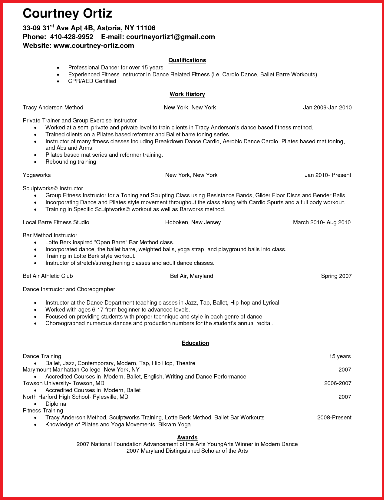 Aerobics Instructor Resume Idea  HttpWwwJobresumeWebsite