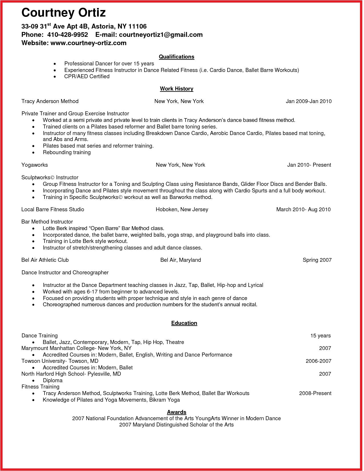 Aerobics Instructor Resume Idea Job Resume Format Job Resume Template Job Resume