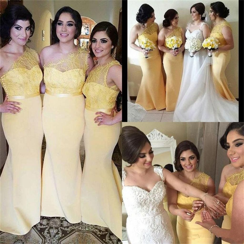 Bridemaid Dresses Yellow Mermaid with Sleeves