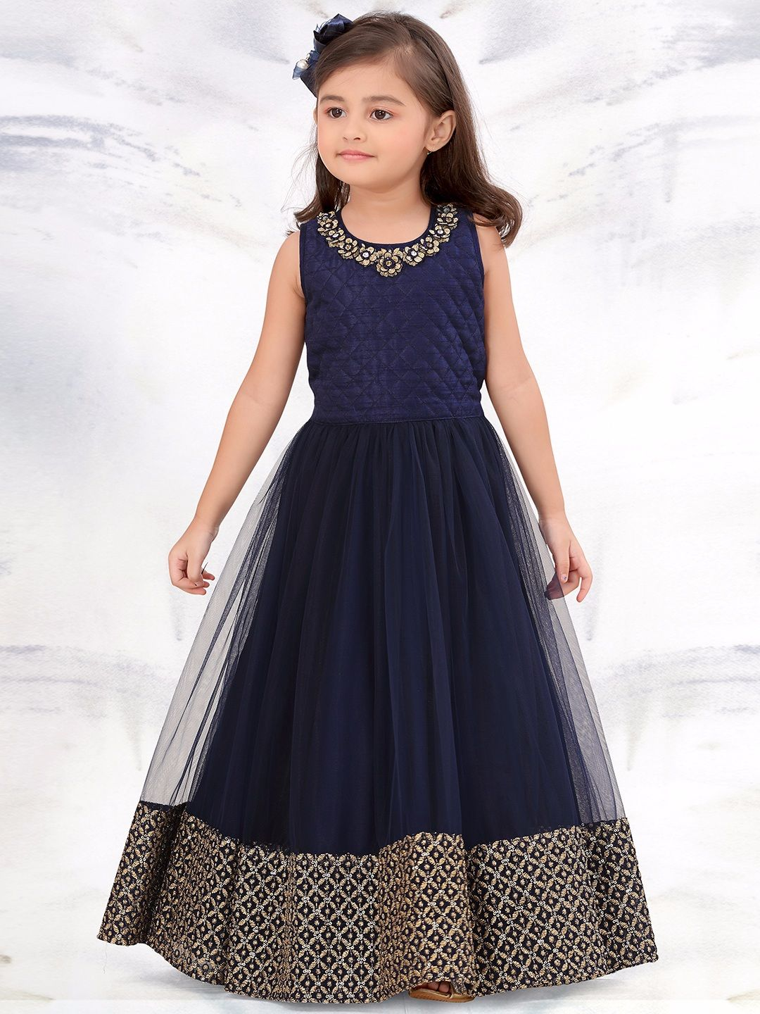G3 Exclusive Navy Net Party Wear Gown #Gown | Collection for Little ...