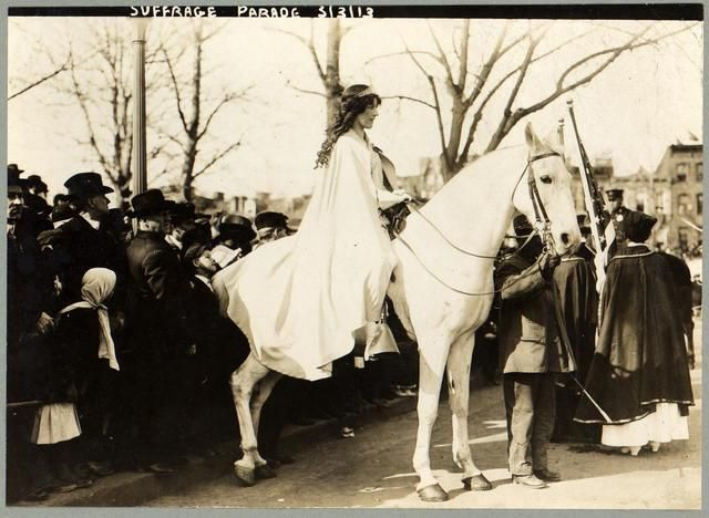 "100 years ago today: March 3, 1913: suffragist, labor lawyer, and journalist Inez Milholland Boissevain leads the suffrage parade in Washington, D.C, riding ""Gray Dawn""."