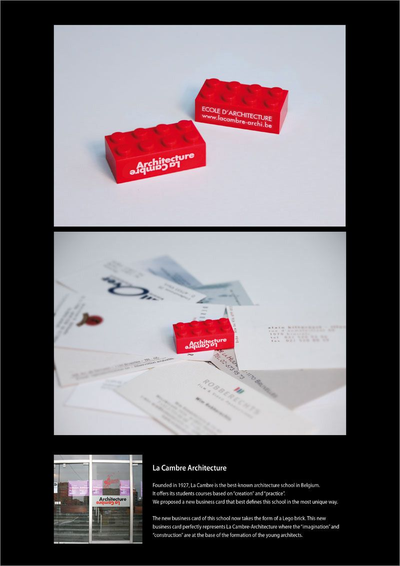 La cambre architecture business card adverts pinterest lego ambient advertisment created by leo burnett belgium for la cambre architecture within the category education lego architecture creative business card reheart Gallery