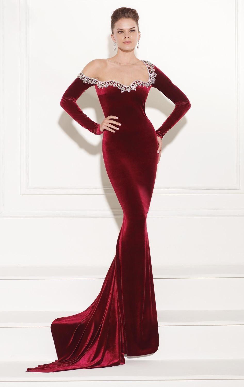 Long Sleeves Evening Gowns 2017 Dark Red Velvet Beaded Mermaid ...