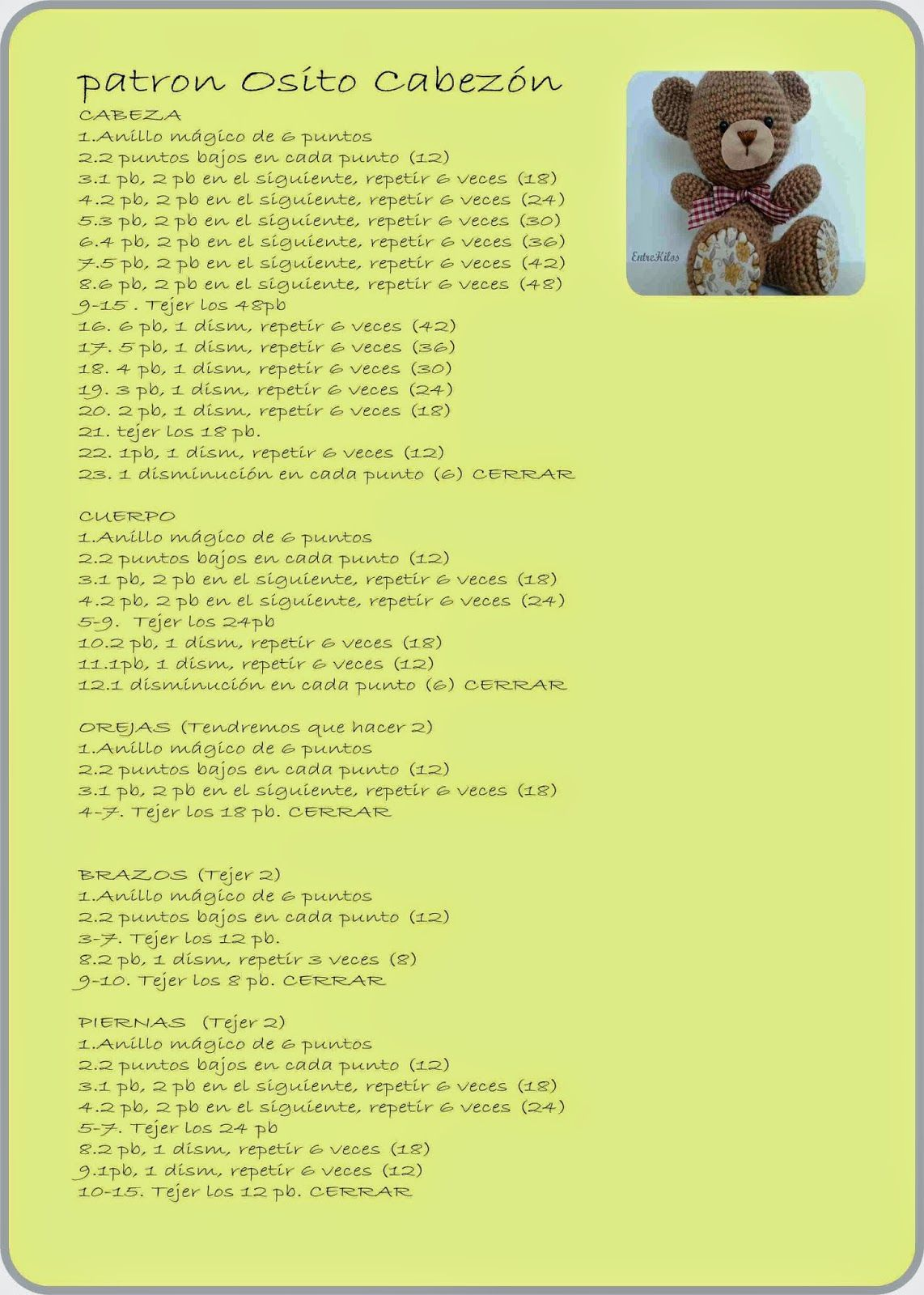 EntreHilos y algo más: Un nuevo amigurumi (Patrones)   Amigurumi ...