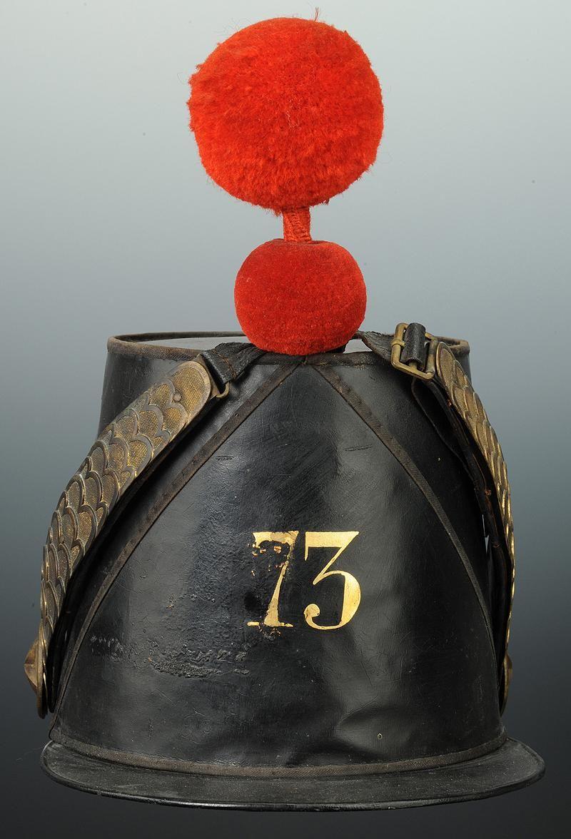 SHAKO DE TENUE DE CAMPAGNE D'OFFICIER DU 73e R�GIMENT D'INFANTERIE DE LIGNE, MOD�LE 1856, SECOND EMPIRE.