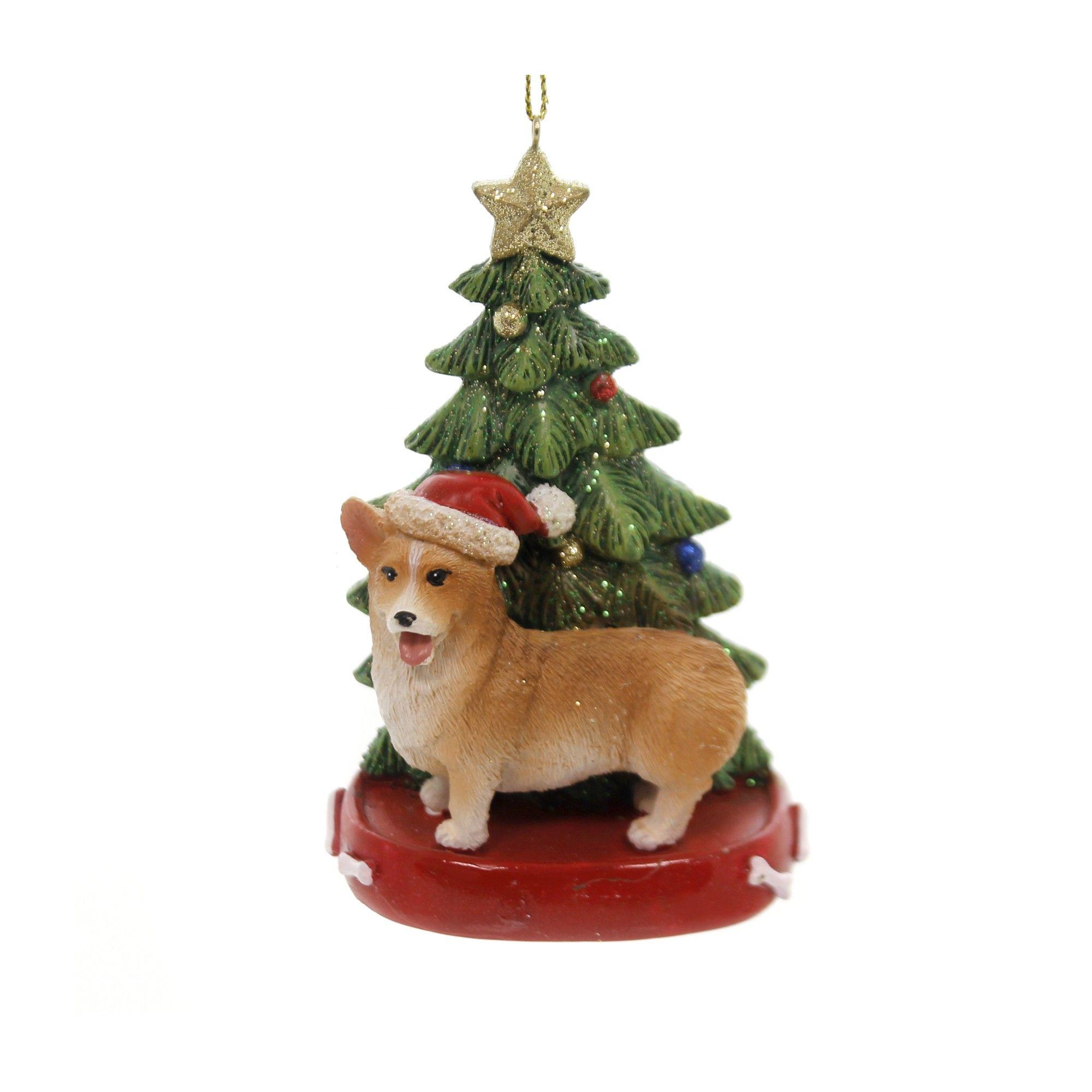 WELSH PEMBROKE CORGI DOG CHRISTMAS ORNAMENT HOLIDAY  Figurine Scarf