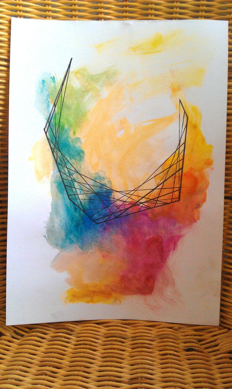 Rainbow Watercolor Black Line Design Web Interlaced Original Mixed