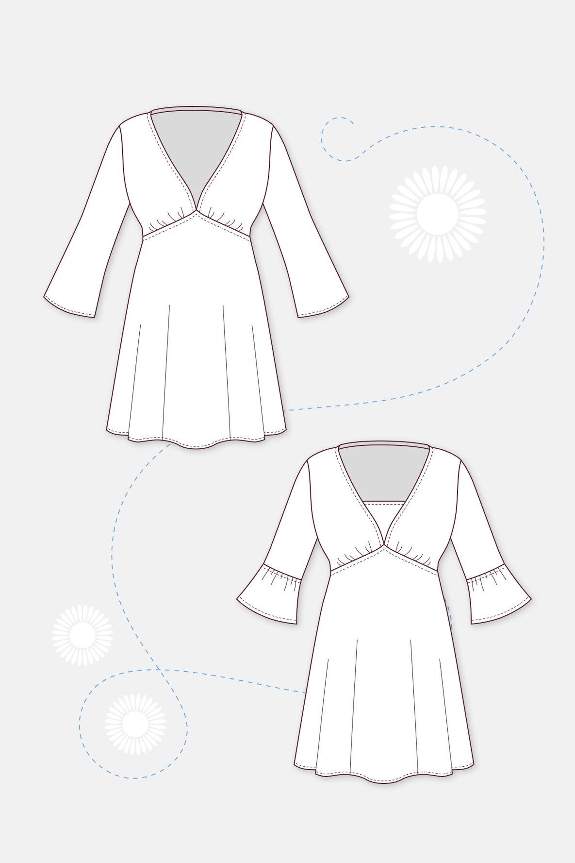 Schnittmuster Tunika Kleid technische Zeichnung  Tunika