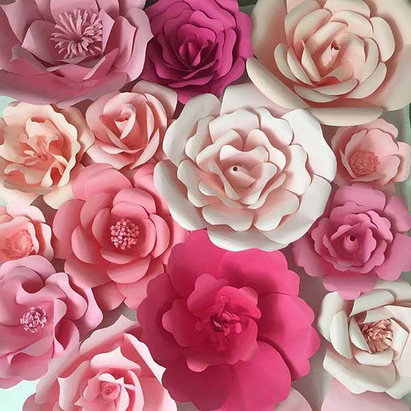 Como hacer Flores Grandes Paso a Paso Con Moldes5 Flores papel