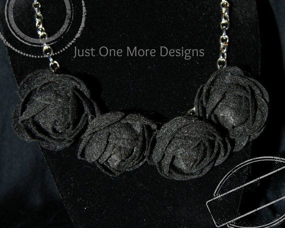 Black Felt Flowers on Chain by JustOneMoreDesigns on Etsy