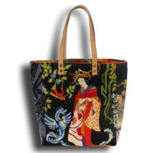 French Tote Bag Collection, asian needlepoint tapestry leshopdemoz.com