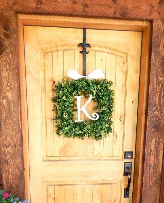 MONOGRAM Boxwood Wreath-SQUARE BOXWOOD Door Wreath-Summer Door Wreath-Housewarming Gift-Outdoor Wreaths-Year Round Wreath-Wedding Gift