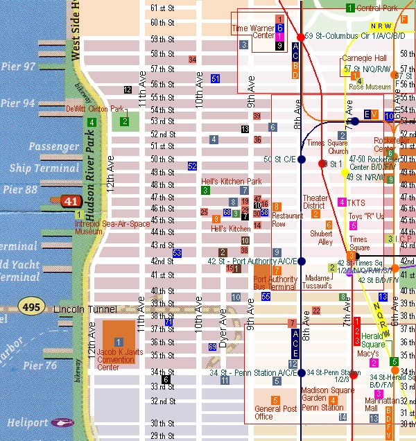 City Of New York Midtown West Map New York Map Maps - Midtown new york map