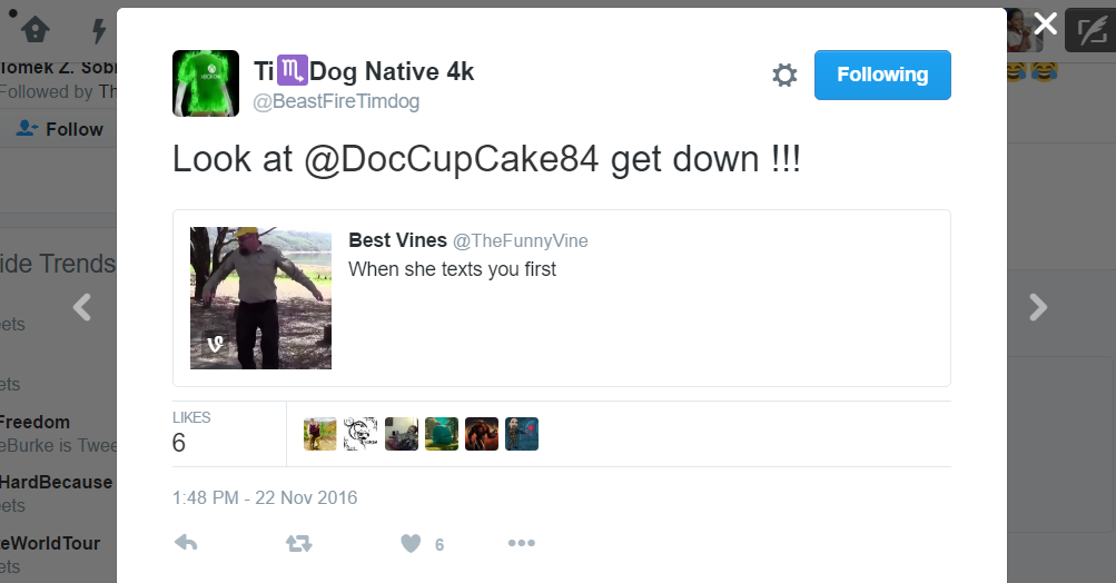 Ti ♏️Dog Native 4k @BeastFireTimdog Ti ♏️Dog Native 4k Retweeted Best Vines Look at @DocCupCake84 get down !!!