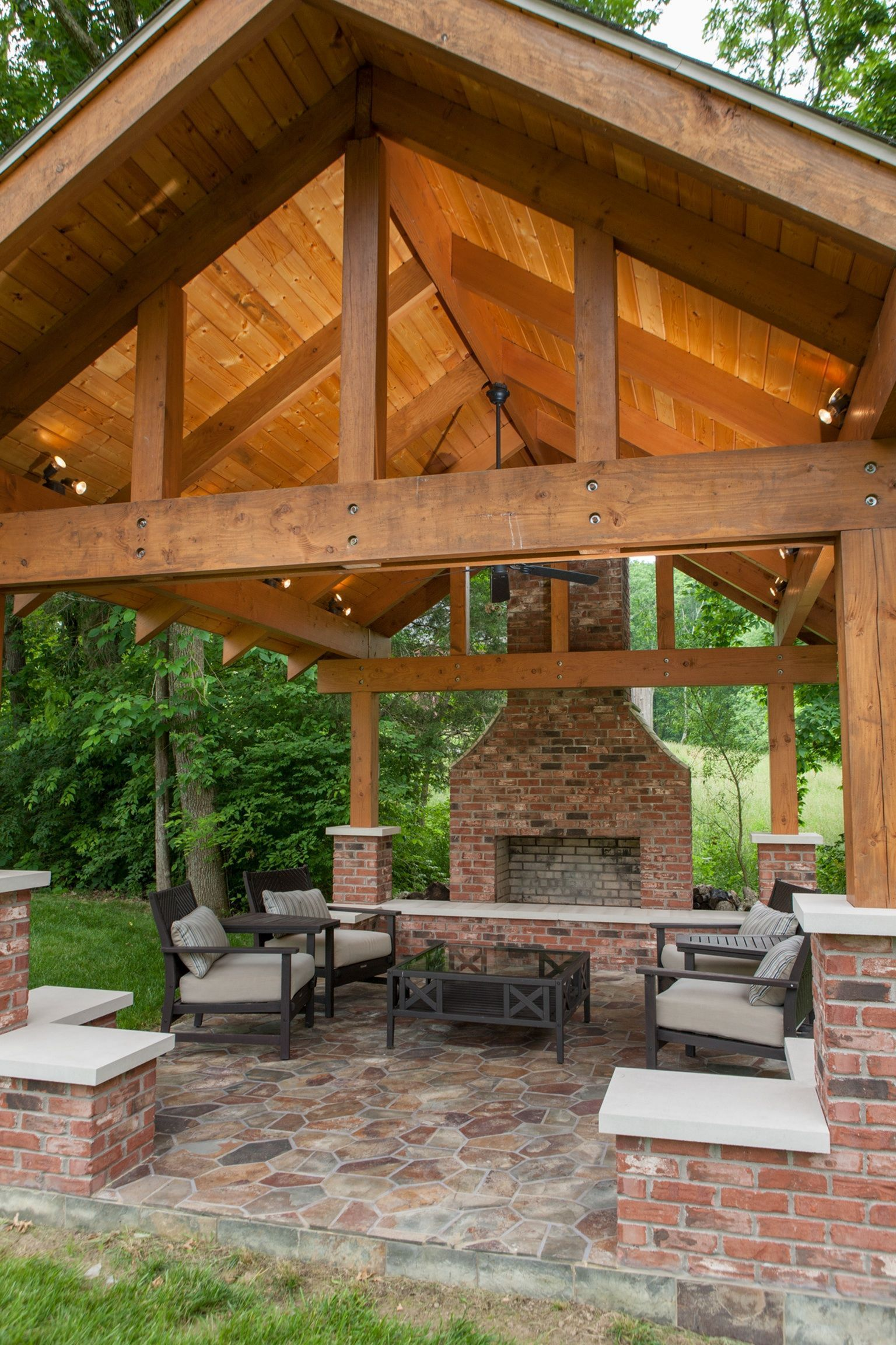 15 Lovely Outdoor Fireplace Ideas For Your Home Outdoor Backyard Pavilion Outdoor Pavilion Backyard Patio Designs