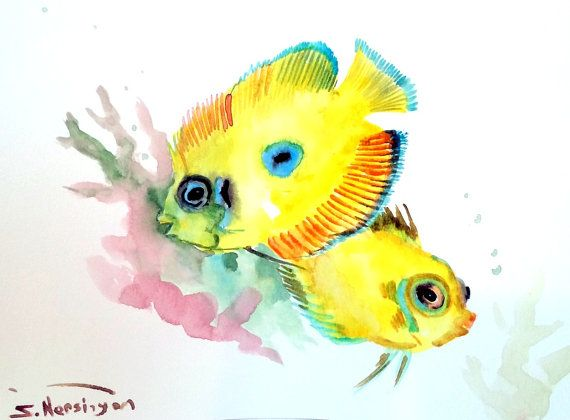 Lemonpeel Angelfish 12 X 9 In Original Watercolor Painting