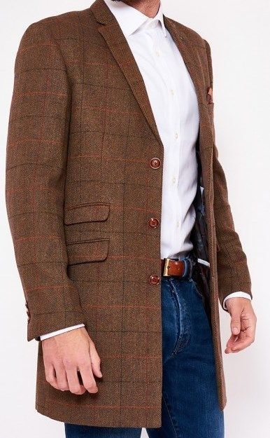 Men's Marc Darcy Designer Distinct Check Tweed Top Coat Jacket  Size 36-52 Coats & Jackets