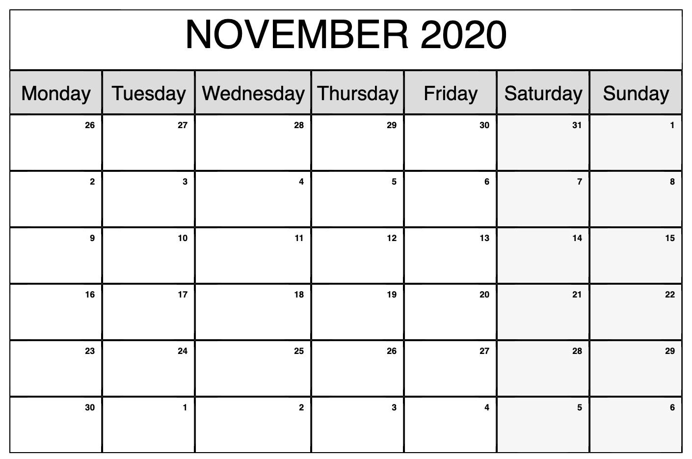 November Calendar 2020 Printable.Printable November 2020 Calendar November Calendar Blank