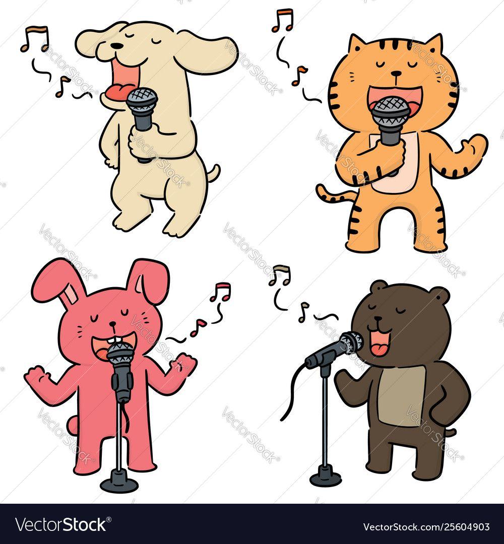 Set animal singing vector image on ศิลปะ