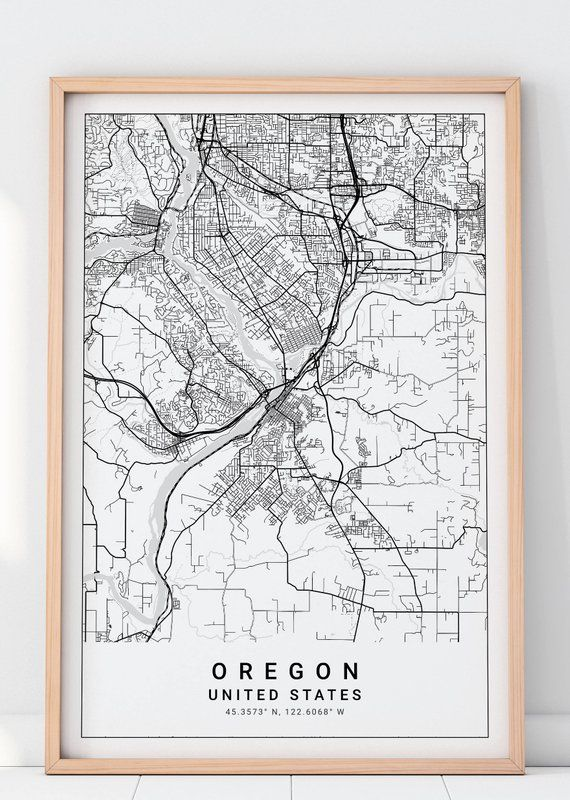Oregon Map Print, Portland Map, Oregon Map, Portland Map Print ...