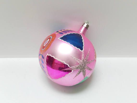 Large Christmas glass ornament Poland pink hand decorated Vintage