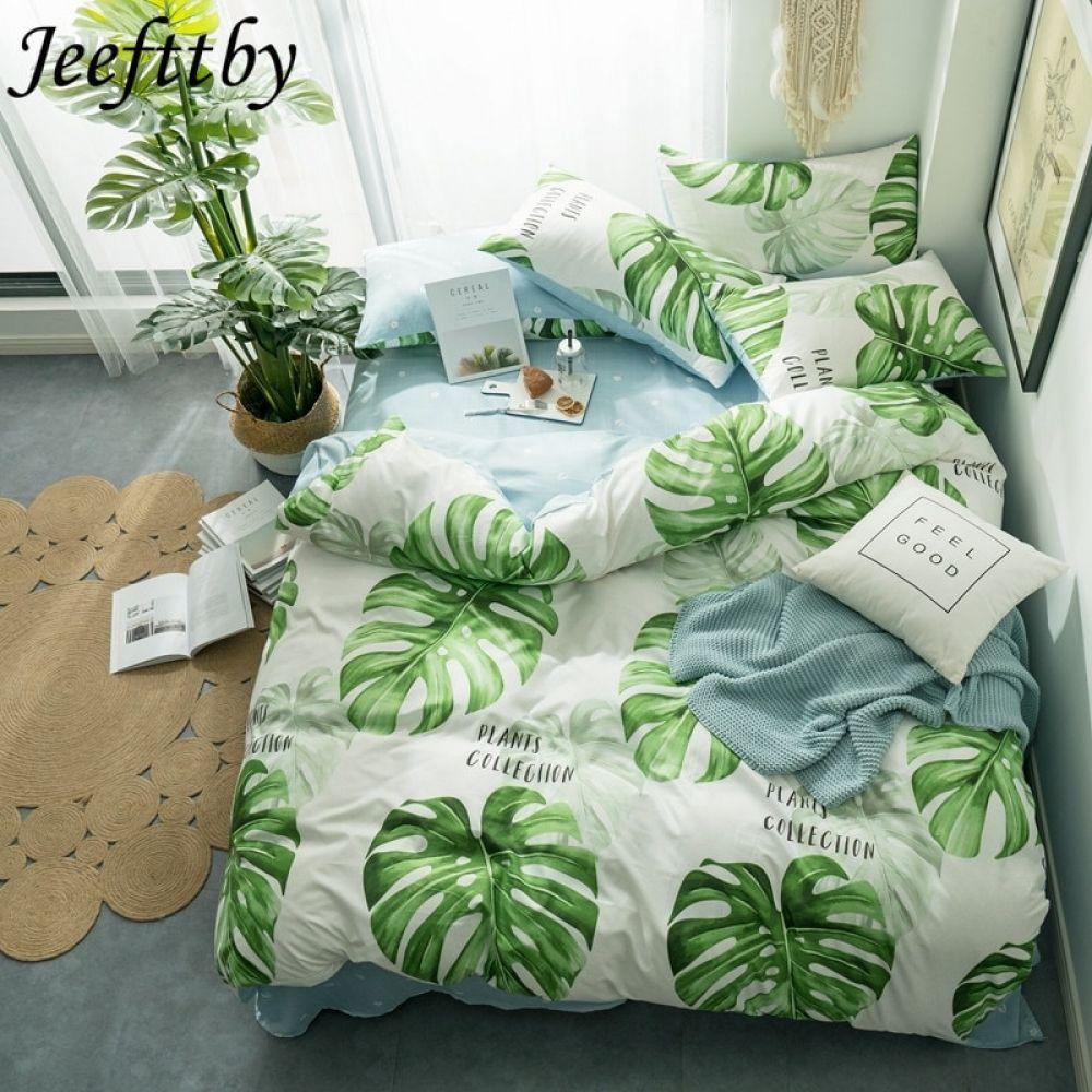 Jeefttby Home Textile Green Banana Leaf Bed Linens 3/4pcs