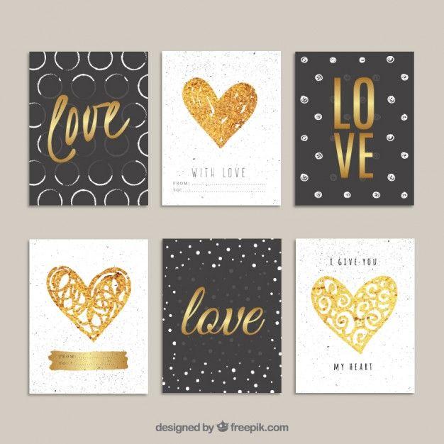 Tarjetas del día de San Valentín doradas Vector Gratis | San ...