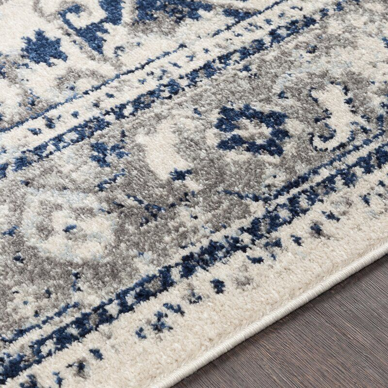 Ebenezer Distressed Vintage Navy Gray Area Rug In 2020 Navy Rug Living Room Navy Blue And Grey Living Room Blue And Cream Living Room