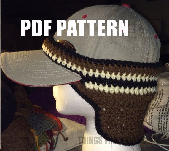 Written pattern for the crochet ball cap ear warmer pattern. This is great  for any person that wants the warmth but wont give up their beloved baseball  cap. 972a7cd1550