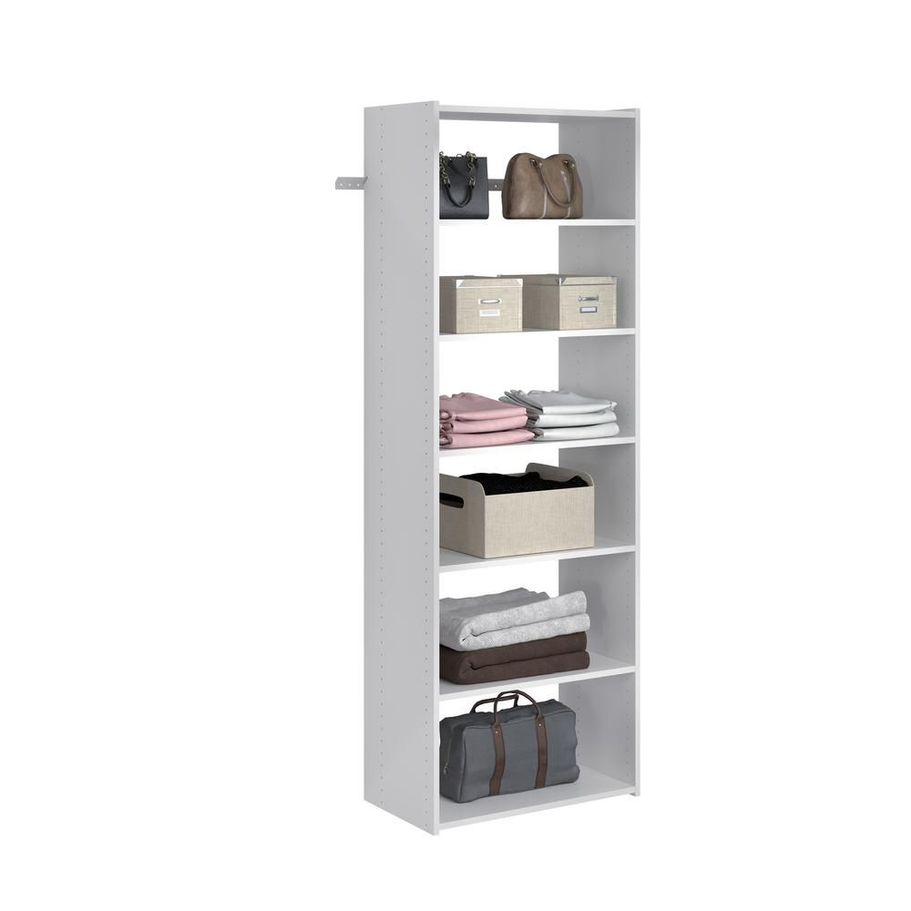 Closet Evolution Essential Shelf 25 In W White Wood Closet Tower Wh29 The Home Depot In 2020 Closet Organizing Systems Closet System Wood Closet Systems