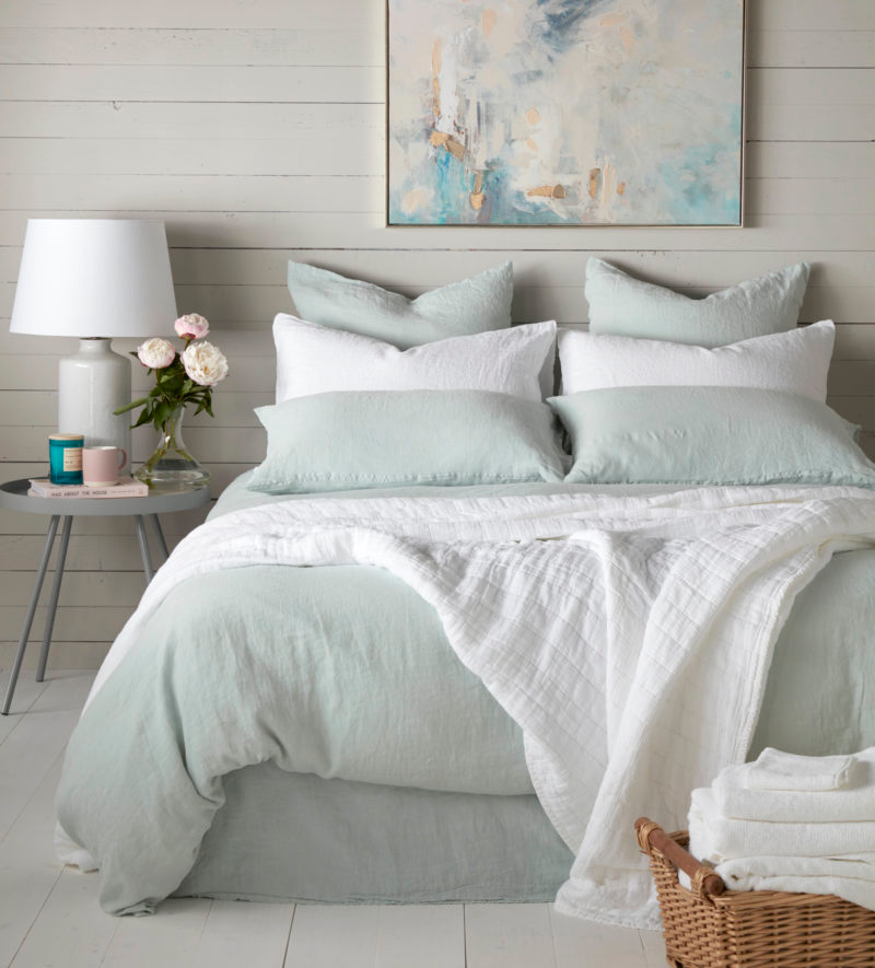 23 Best Grey Bedroom Ideas And Designs For 2020: 100% Linen Duck Egg Bedding In 2020 (With Images)