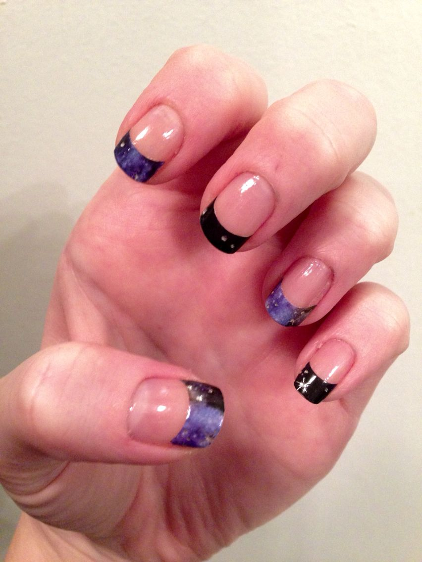 Space french tips nail sticker --these are my real nails! Gotta love ...